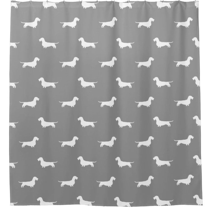 wire haired dachshund silhouettes pattern grey shower curtain zazzle com