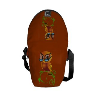 Wise owl with glasses courier bags