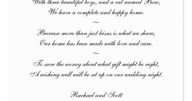 Short Wishing Well Wording For Wedding Invitations – Wedding Poems for Invitation Cards