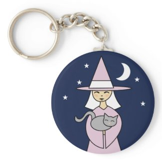 Witch and Cat keychain