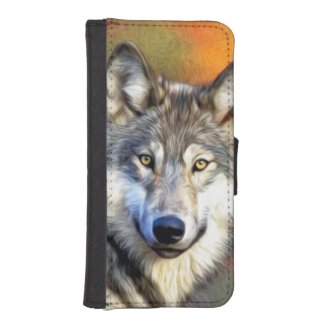 Wolf Art Painting Wallet Phone Case For iPhone SE/5/5s