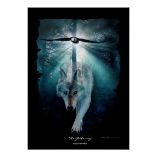 Wolf & Eagle Wildlife Gathering Art Poster