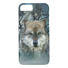 Wolf Full Moon in Fog iPhone 7 Case