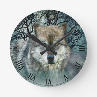 Wolf Full Moon in Fog Round Clock