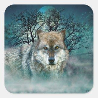 Wolf Full Moon in Fog Square Sticker