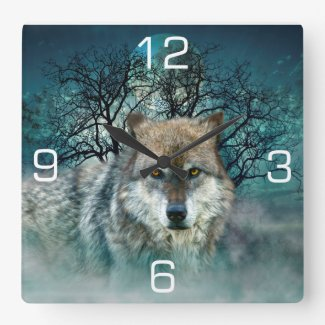 Wolf Full Moon in Fog Square Wall Clock