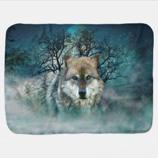 Wolf Full Moon in Fog Swaddle Blankets