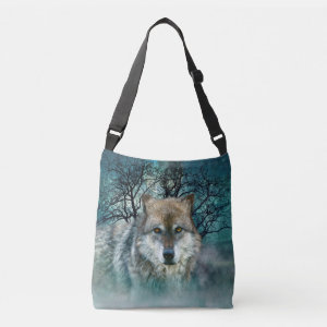 Wolf Full Moon in Fog Tote Bag
