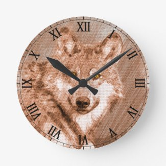 Wolf Pencil Sketch Image Art Round Clock