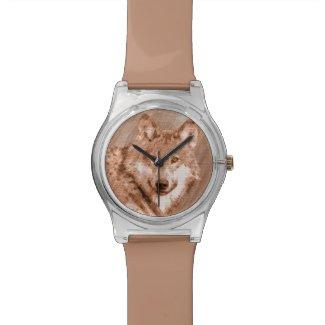 Wolf Pencil Sketch Image Art Wristwatches