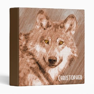 Wolf Pencil Sketch Image Personalize Binders
