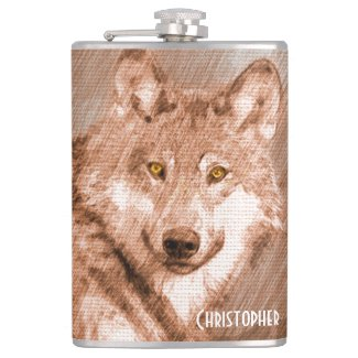 Wolf Pencil Sketch Image Personalize Flask