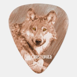 Wolf Pencil Sketch Image Personalize Guitar Pick