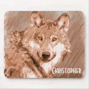 Wolf Pencil Sketch Image Personalize Mouse Pad