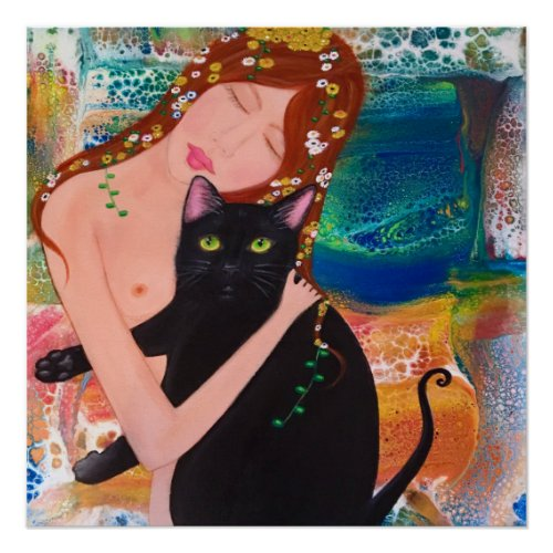 Woman and Cat Klimt Style poster
