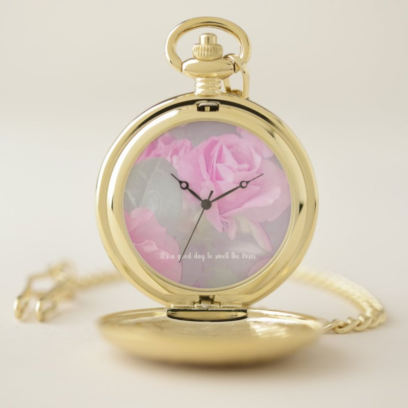 Woman Floral Roses Birthday Design  Pocket Watch