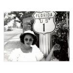 Woman Florida Rte. 1 Road Sign Vintage Postcard