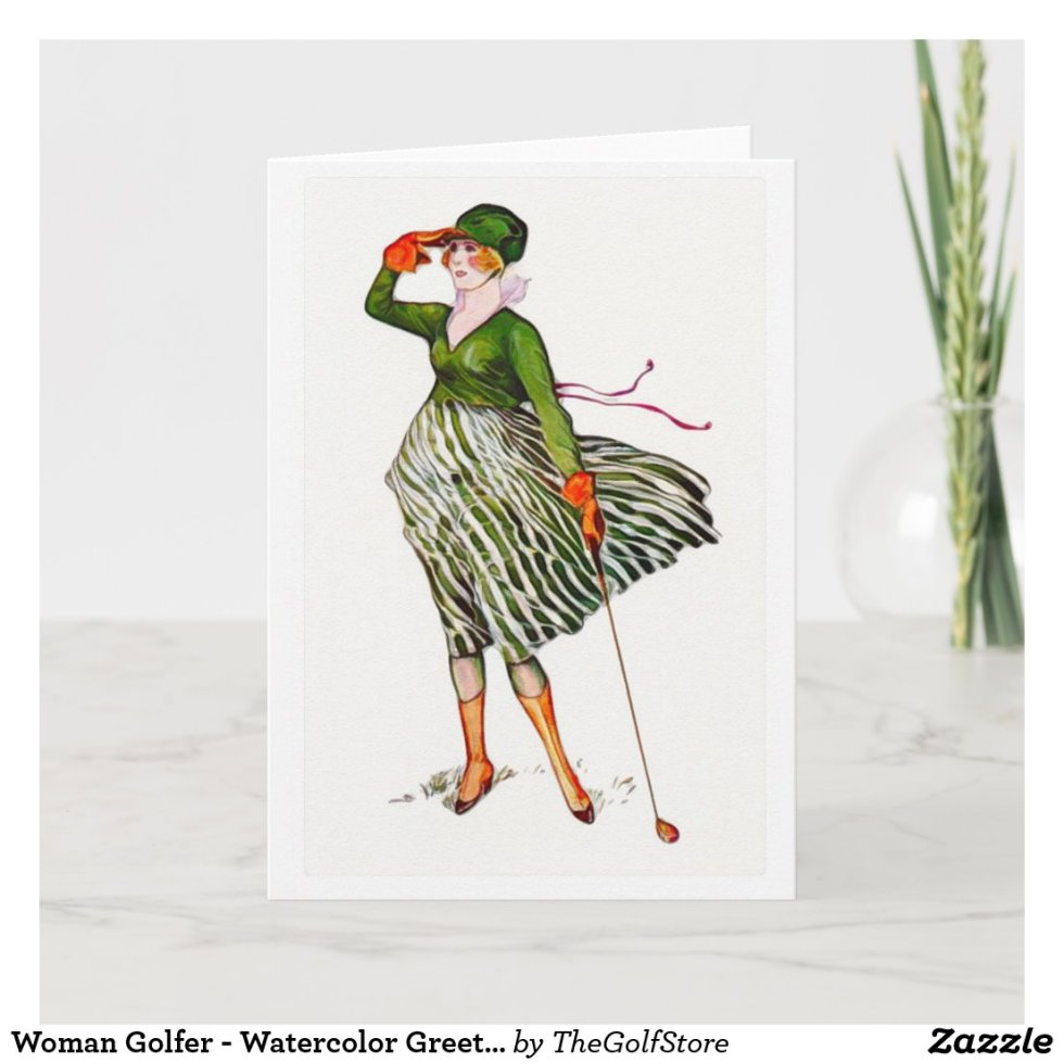 Woman Golfer - Watercolor Greeting Card