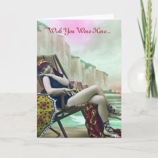 Woman in a Bathing Suit Vintage Card