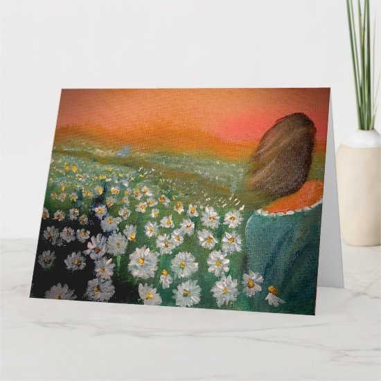 Woman In a Field of Daisies Painting Card