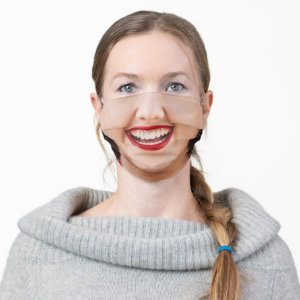 Woman Red Lips Smile Cloth Face Mask
