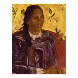 Woman with Gardenia by Paul Gauguin Postcards