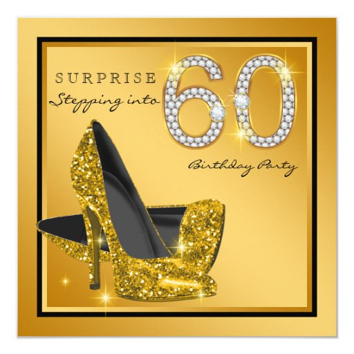 Womans Gold Surprise 60th Birthday Party Card Zazzle