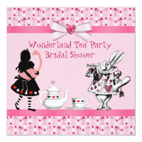 Wonderland Tea Party Pink Flamingos Bridal Shower Card