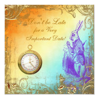 Wonderland White Rabbit Bridal Shower Tea Party Card