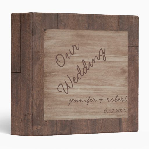 Wood and Birch Country Wedding Album 3 Ring Binder