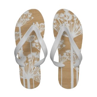 Wood background flowers girly floral pattern flip flops