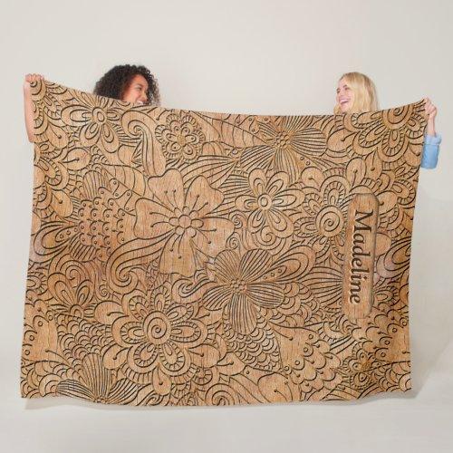 Wood Carvings Floral Pattern Personalized Lrg Fleece Blanket