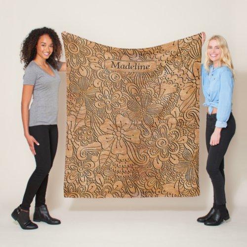 Wood Carvings Floral Pattern Personalized MD Fleece Blanket