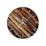 Wood Fence Texture Cool Unique Round Clock