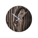 Wood Grain Pattern Round Clock