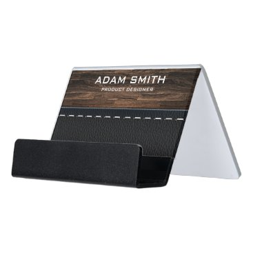 Wood & Leather Look Professional Modern Customized Desk Business Card Holder