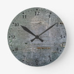 Wood Plank Chipping Paint Texture Clockface 1 Round Clocks