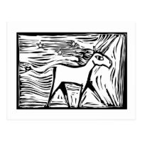 Woodcut Unicorn Postcard
