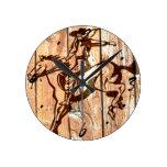 Wooden bucking bronco cowboy round wall clocks