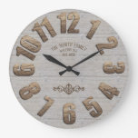 Wooden Large Number w/Name Large Clock