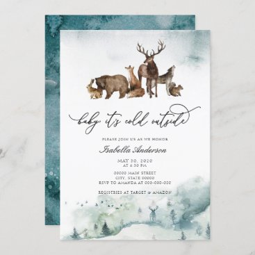 Woodland Animals Winter Cold Outside Baby Shower Invitation
