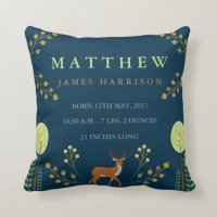Woodland Deer Birth Announcement Pillow