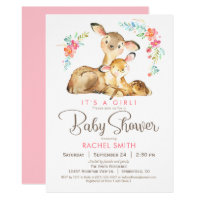 Woodland Deer Girl Baby Shower Card