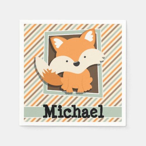 Woodland Fox; Sage Green, Orange, Brown Stripes Napkin