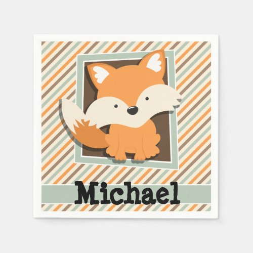 Woodland Fox; Sage Green, Orange, Brown Stripes Napkin
