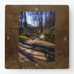 Woodland Path and Fairy Bridge, rustic look Square Wallclock