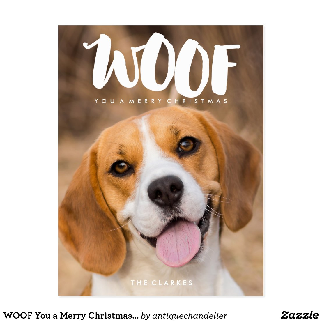 WOOF You a Merry Christmas | Dog Photo Postcard