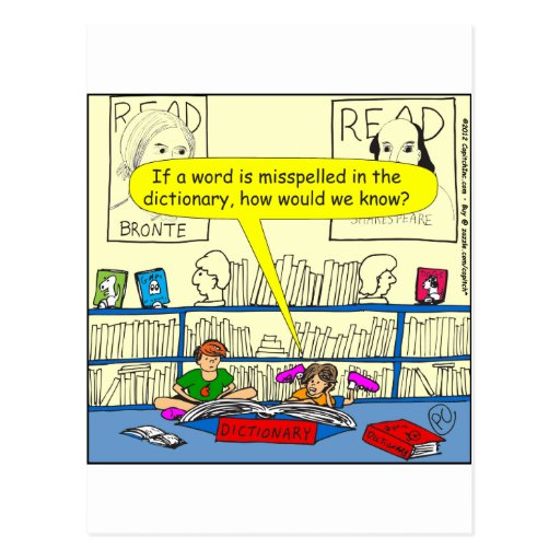346 Word spelt wrong in dictionary color cartoon Post Cards | Zazzle