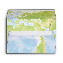World Map Compass Bar Bat Mitzvah Envelope
