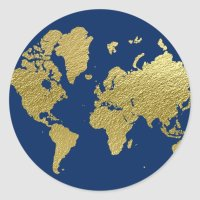 World Map Design   Navy and Gold Classic Round Sticker ...
